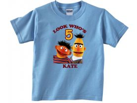 Personalized Sesame Street Bert and Ernie Custom Birthday Pink or Blue Shirt in sizes Toddler 2T to Youth XL