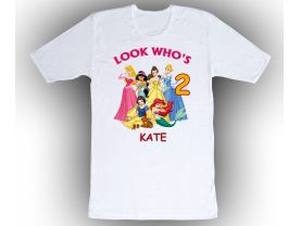 Disney Princesses Personalized Custom Birthday White Shirt in sizes Toddler 2T to Adult XL