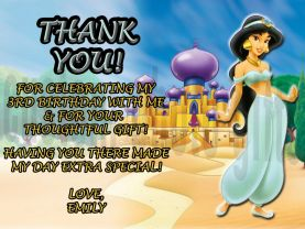 Disney Princess Jasmine Thank You Card Personalized Birthday Digital File