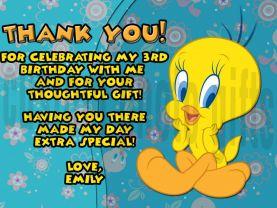 Tweety Bird Thank You Card Personalized Birthday Digital File