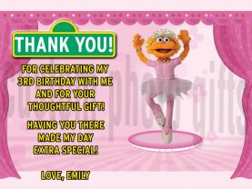 Sesame Street Zoe Thank You Card Personalized Birthday Digital File