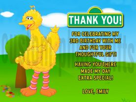 Sesame Street Big Bird Thank You Card Personalized Birthday Digital File