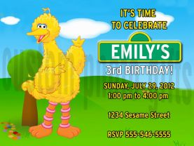 Sesame Street Big Bird Invitation Personalized Birthday Digital File