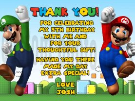 Super Mario Brothers Thank You Card Personalized Birthday Digital File