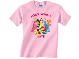 Disney Princess Personalized Custom Birthday Pink or Blue Shirt in sizes Toddler 2T to Youth XL