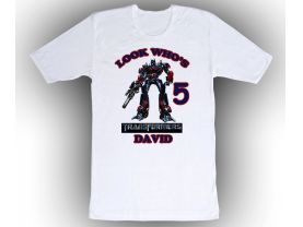Transformers Optimus Prime Personalized Custom Birthday White Shirt in sizes Toddler 2T to Adult XL