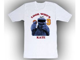 Sesame Street Cookie Monster Personalized Custom Birthday White Shirt in sizes Toddler 2T to Adult XL