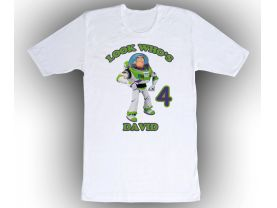 Toy Story Buzz Lightyear Personalized Custom Birthday White Shirt in sizes Toddler 2T to Adult XL