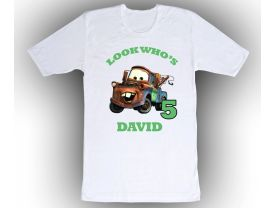 Cars Tow Mater Personalized Custom Birthday White Shirt in sizes Toddler 2T to Adult XL