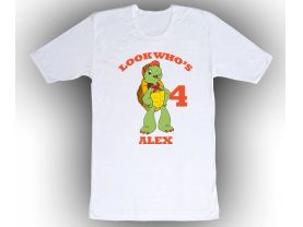 Franklin the Turtle Personalized Custom Birthday White Shirt in sizes Toddler 2T to Adult XL
