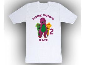 Barney & Friends Personalized Custom Birthday White Shirt in sizes Toddler 2T to Adult XL