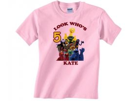 Personalized Sesame Street Custom Birthday Pink or Blue Shirt in sizes Toddler 2T to Youth XL