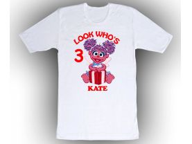 Sesame Street Abby Caddaby Personalized Custom Birthday White Shirt in sizes Toddler 2T to Adult XL
