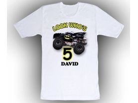 Batman Monster Jam Truck Personalized Custom Birthday White Shirt in sizes Toddler 2T to Adult XL