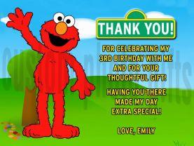 Sesame Street Elmo Thank You Card Personalized Birthday Digital File