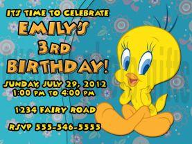 Tweety Bird Invitation Personalized Birthday Digital File