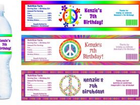 Peace Signs Groovy Water Bottle Labels - PRINTED FOR YOU - Birthday Party Supplies Favors