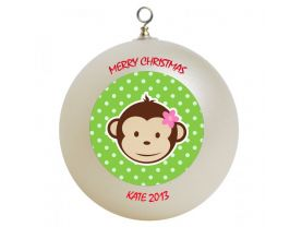 Mod Monkey Personalized Custom Christmas Ornament #2