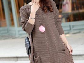 2014new spring fashion women loose fit long sweater 2pocket knitswear long dress cardigan plus size cashmere knit blouse