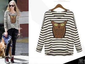 2014new spring fashion women print owl stripe t shirt loose fit batwing sleeve knit blouses knitswear tops