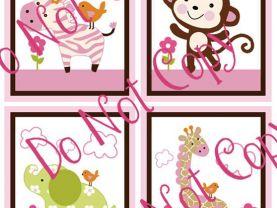 Set of 4  Unframed (Jungle Jill/Girl Animals #2) 8x10 Matte Art Prints