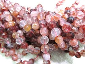 8mm full strand genuine cherry white  quartz round ball  faceted gemstone bead