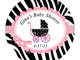 Pink Zebra baby Shower Round Stickers Gift Tag, candy lollipop Address labels