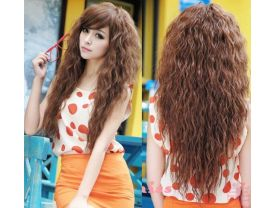 Fashion Sexy long Full Curly Wavy Synthetic Human like Hair Wigs Cosplay Party Wig
