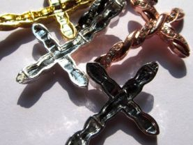 sideway cross metal spacer carved silver gold balck mixed crystal rhinestone  jewelry beads 30X45mm 100pcs