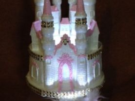 .2 pc. weddind  quinceanera sweet 16  cinderella cadtle  carriage  light cake topper in pink