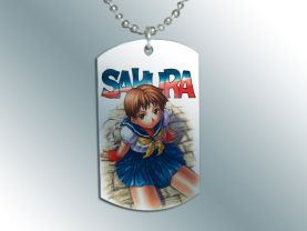 Street Fighter Sakura Dog Tag Pendant Necklace