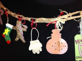 Christmas Burlap Garland  burlap garland attached with an array of primitive, rustic ornaments, about 5 ft. long