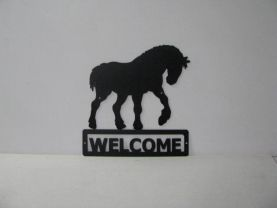 Clydesdale 009 Walking Welcome Sign Metal Art