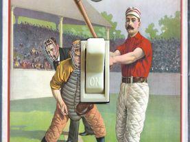 1895 Baseball  Home Plate Illustration (Single, Double)