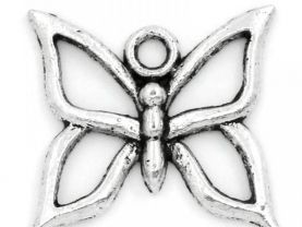 10 Antique Silver Butterfly Charm/ Pendants for Jewelry Making