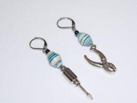 Handmade tool earrings, mismatched aqua & white paper bead, black riverstone bead, screwdriver charm, pliers charm