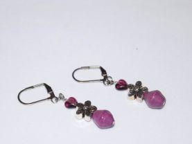 Handmade purpe earrings, purple heart and rolled paper bead, silver flower bead