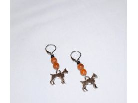 Handmade boxer earrings, boxer dog charm, brown wood beads, black seed bead