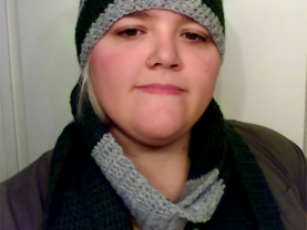 Harry Potter inspired, Slytherin hat and scarf set,adult size