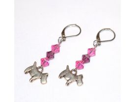 Handmade dog earrings, scottie dog charm, pink and purple Swarovski crystals