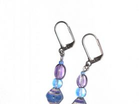 Handmade blue and purple earrings, purple and blue glass and rolled paper beads