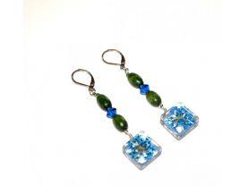 Handmade flower earrings, blue pressed flower charm, vintage green wood and blue Czech crystal