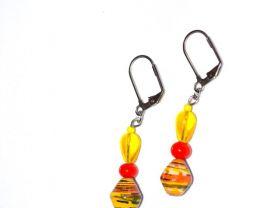 Handmade yellow earrings, yellow glass teardrop, orange glass round, yellow paper bicone