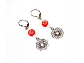 Handmade flower earrings, red millefiori coin bead, translucent white beads, flower charm