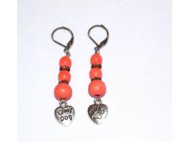 Handmade dog lover earrings, coral wood, brown flower rondelles, love my dog heart charm