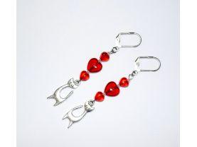 Handmade cat earrings with Czech glass heart beads