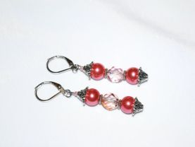 Handmade coral pink earrings with fire polished Czech crystal and glass pearl beads