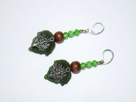 Handmade tree earrings with faceted green crystals, brown wood beads and acrylic leaf drops