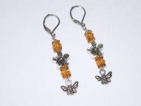 Handmade honey bee earrings with Czech glass and metal flower beads