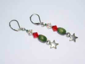 Star earrings with red crystal and green wood beads